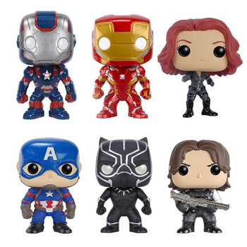 Avengers 10 cm Kutulu Iron Man Action Figure Oyuncaklar Kaptan Amerika 3 Civil War Black Widow Panter Kış Asker