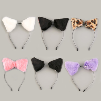 NEW Fluffy Cosplay Halloween Party Cat Faux Fox Fur Ears Costume Hairpin Hairband Black/White/Purple/Leopard/Black&Pink Apparel