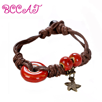 Wholesale BCCAT trendy Ceramic Jewelry Handmade romantic bangle Bracelet for women colorful beads hand chain bracelet