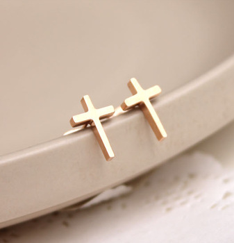 TYME Fashion cross shape stud earrings for women rose gold color earrings ping sweet office jewelry good pendientes